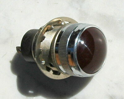 """Vintage Dialco 1"""" red  glass panel mount indicator light"""
