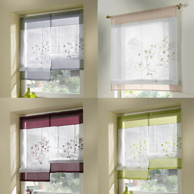 Floral Embroidered Liftable Short Roman Curtain Sheer Voile Kitchen Balcony