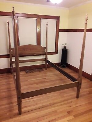 Davis Cabinet Co. Solid Walnut Queen Size Bed - Antique (Made in 1950)