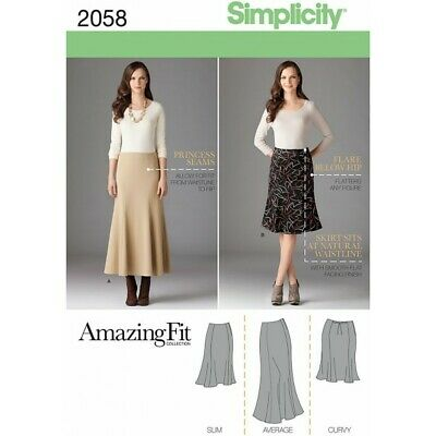 Misses' & Plus Size Amazing Fit Skirt Fabric Simplicity Sewing Pattern 2058