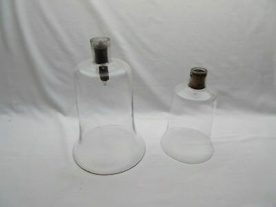 2 antique? vintage lab laboratory glass bell jars display domes .