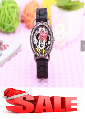 minnie mouse girls Ladies women crystal Watch kids children cartoon silicone