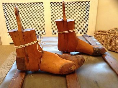 Pair Of Antique Vintage Industrial Wooden Cobblers Boot Lasts Trees Retro Cool