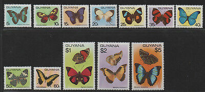 $Guyana Sc#279-289 M/NH/VF complete set, missing #289a, butterfly stamps Cv. $32