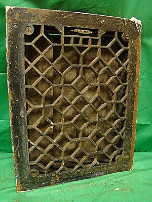 Antique Heavy Duty Cast Iron Heating Grate Vent Register Ornate Design 14 X 11 D