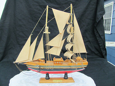 VTG 15 Inch Blue Nose Wooden Schooner Boat Model Very Nice!