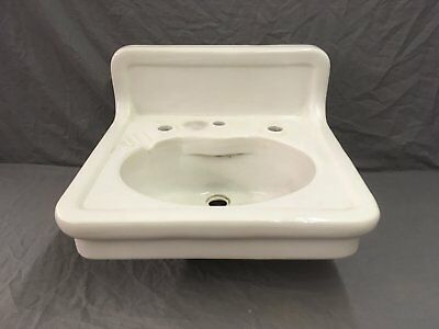 Antique White Porcelain Heavy Ceramic Bathroom Sink Old Pottery Plumbing 115-18E