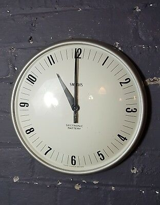 Vintage 1960 Smiths sectronic battery wall clock industrial Railway School Clock