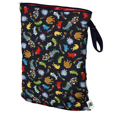 New Planet Wise Cloth Diapers Reusable Wet Bags Size Large Monster Mash