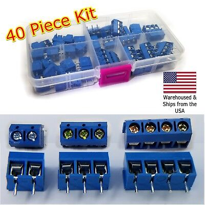 40Pcs 2 Pole 3 Pole & 4 Pole 5mm Pitch PCB Mount Screw Terminal Block Kit