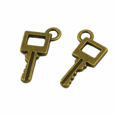 100x Vintage Old Look Bronze Key DIY Charms Pendant For Rustic Wedding Decor