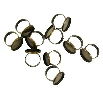 10x Adjustable Ring Settings Blank/Base,Fit 18mm Glass Cabochons Ring Bezels
