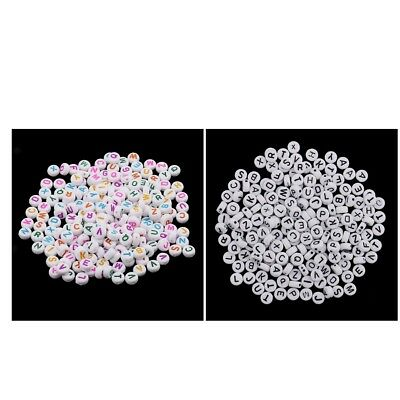 200x 6mm White Alphabet Letters Beads Round Jewelry Kids Beading Accessories