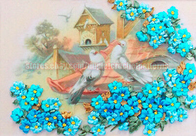 Doves and Forget-Me-Not ribbon embroidery DIY kit wall hanging room decor