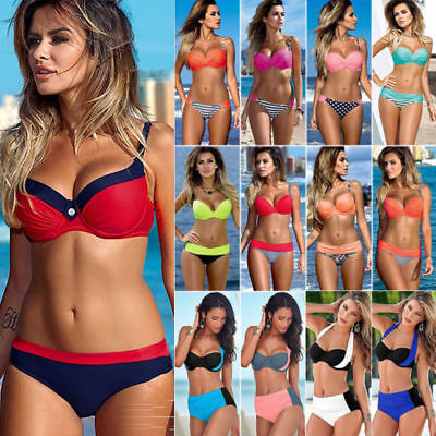 █Women Push Up Bikini Set Bra Padded Swimwear Bandage Lady Swimsuit Bathing Suit