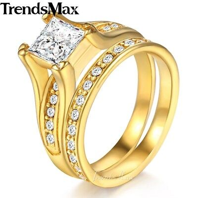 Wedding Band Ring Set Gold Silver Tone Stainless Steel Cubic Zirconia For Women