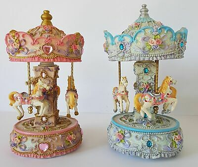 Musical Pony Carousel Montmatre Pink or  Vincennes Blue Resin 23 cm H