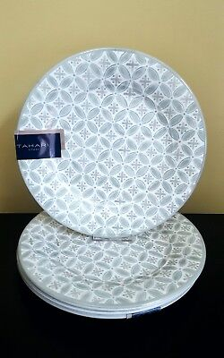 NEW Tahari Home Gray White Floral Spanish Melamine Dinner Plates 4pc : white melamine dinner plates - pezcame.com