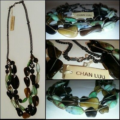 Rare CHAN LUU Semi Precious Stones NWT Necklace Color: Brown Jade Turquoise BOHO