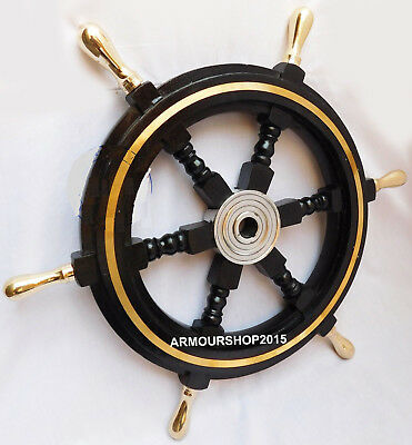 Black Wooden Ship Steering Wheel Vintage Decor Brass Fishing Wall Boat 24 Inches