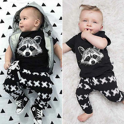 Toddler Kids Newborn Baby Boys Girl T-shirt Tops+Long Pants Set Clothes Outfits