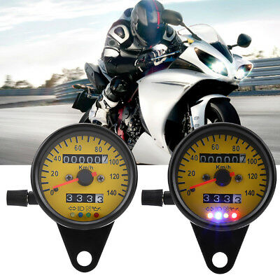 Motorcycle LED Backlight Dual Odometer Speedometer Gauge W/ Indicator Cafe Racer