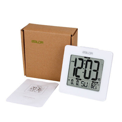 Baldr Digital Snooze LED Alarm Clock Backlight Time Calendar Thermometer Wihte