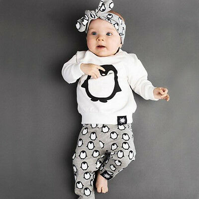 Winter Kids Newborn Infant Baby Boys Girl Outfits T-shirt Tops+Pants Clothes Set