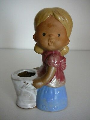Gempo Pottery Girl Ornament Figurine Candle holder Kitsch Vintage Collectable