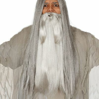Long Grey Wizard Beard Gandalf Halloween Fancy Dress Accessory