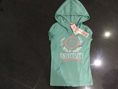 NWT Juicy Couture New & Gen. Green Short Sleeved Cotton Hoody & Logo Girls Age 8