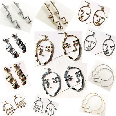 Abstract Face Shape Cutout Hollow Earrings Hook Ear Stud Dangle Drop Art Deco
