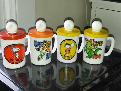 Lot of 4 -1969 Avon Lucy Snoopy Freddy the Frog & Gaylord Gator Milk Glass Mugs