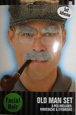 ** Old Man Grey Moustache & Eyebrows Self Adhesive Adult Fancy Dress New ** Mens
