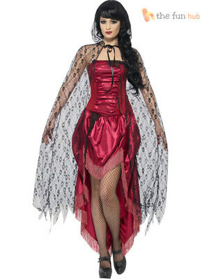 Ladies Black Lace Gothic Hooded Cape Zombie Bride Vampire Fancy Dress Costume