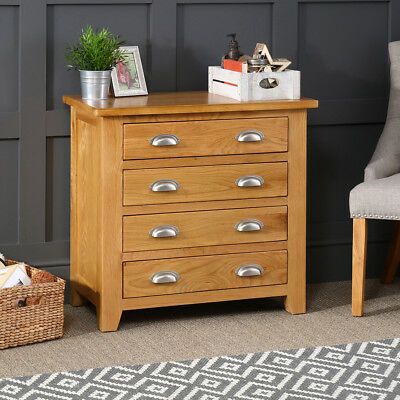 Cheshire Oak 4 Drawer Compact Chest - Bedroom Drawers Storage Furniture - AD08