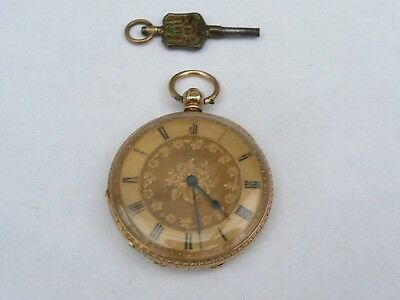 Superb Antique 40Mm 18K Solid Gold Chased Key Wind Swiss Pocket Watch In Fwo
