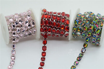 8x10mm Rectangle Linked Chain Color Glass Rhinestones Stone Silver Trim 1 yard