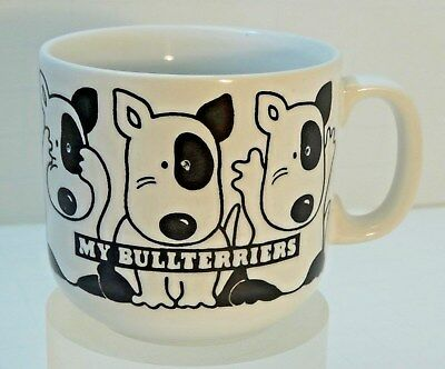"VINTAGE Engish Bull Terrier DOG "" My Bullterriers "" MUG cup Spuds Black & White"