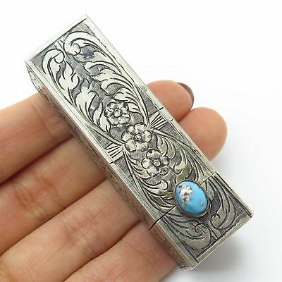 Antique 800 Silver Turquoise Floral Engraved Lipstick Holder Case With Mirror