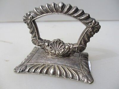 Antique Silver Plated Cloche Handle Pull Ribbed Gilt Leaf Beading Vintage Old