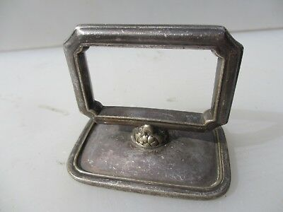 Antique Silver Plated Cloche Handle Pull Ribbed Vintage Old Gilt Leaf