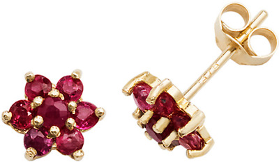 d15ef78ab 9Ct Ruby Flower Stud Earrings Butterfly Backs Floral 9 Carat Yellow Gold