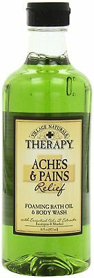 Village Naturals - Therapy Foaming Bath Oil - Aches and Pains - 16 Ounce