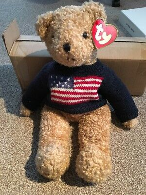 Vintage 1990 TY Beanie Babies Curly the Teddy Bear USA Jumper Retired Rare 373c0a04441