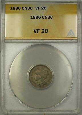 1880 Three Cent Nickel 3c ANACS VF-20 (Better Coin) PM