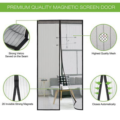 Magnetic Screen Door with Heavy Duty Mesh Curtain Full Frame 34 x 82-inch
