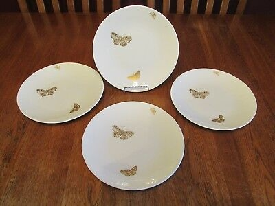 4 Crown Staffordshire England Fine Bone China Luncheon Plates Gold Butterflies