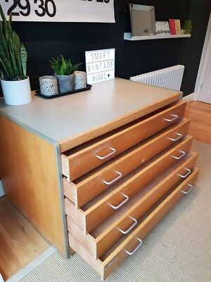 ☆ Original Industrial Vintage Architects Plan Map Chest/Drawers - Courier ☆