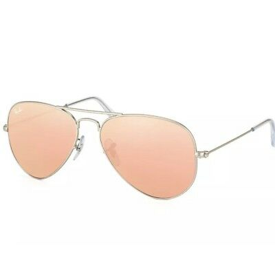 RAY BAN AVIATOR RB3025 019 z2 58mm Silver Mate Brown Mirror Pink- Lenses b7e124bcb126